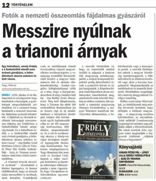 Messzire nyúlnak a trianoni árnyak - megyei napilapokban megjelent újságcikk
