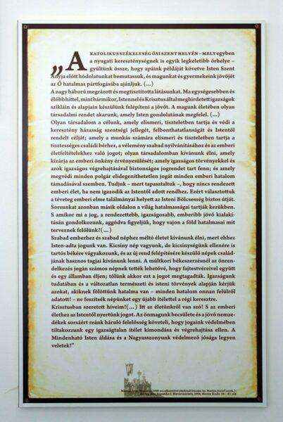 Márton Áron 1946-ban mondott csíksomlyói beszédének részlete