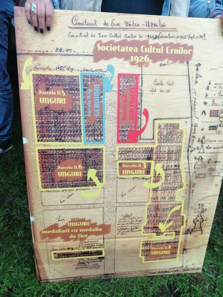 A temető alaprajza - román katonai parcellák nem léteztek