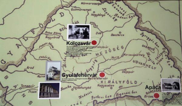 Erdély térképe Apáczai Csere János munkásságának helyszíneivel