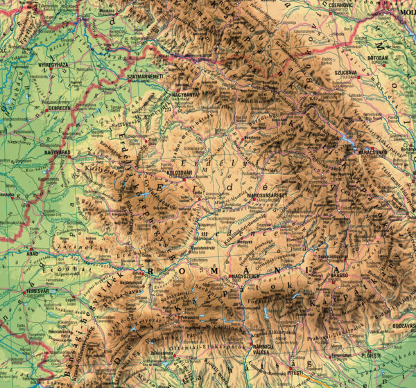 A Kárpátok déli és keleti vonulata, középen a Bihar-hegység