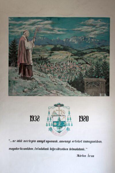 A Márton Áron Általános Iskola falfestménye, 1996 - a püspök születésének 100. évfordulójára készítette Szabó Zoltán, rajztanár