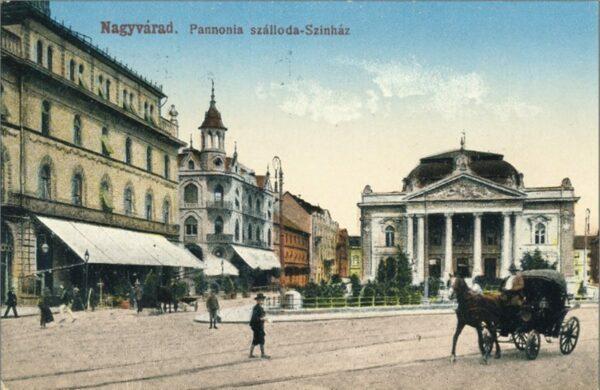 Egy konflis a Bémer téren, mögötte a Szigligeti Színház, az EMKE és a Pannónia Szálló. Itt már látható az 1906-ban épített villamossín.